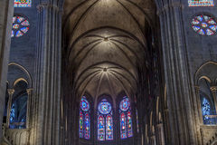 Interior of Cathedral Notre Dame - Paris. Royalty Free Stock Photos