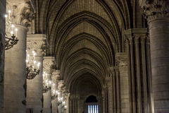 Interior of Cathedral Notre Dame - Paris. Stock Image