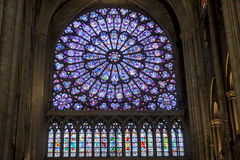 Interior of Cathedral Notre Dame - Paris. Stock Photo
