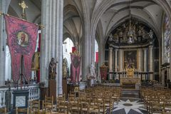 Interior in the Cathedral of Our Lady - Antwerp - Belgium. Royalty Free Stock Photo