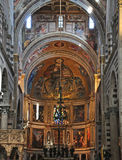 Interior of Cathedral at Pisa. The richly decorated interior of the Cathedral at Pisa. Painting, Gold Leaf and mosaic are used to embellish the marble interior Stock Photos