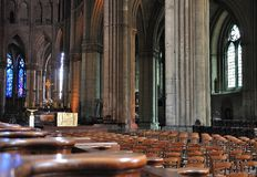 Interior of a cathedral in Reims. Royalty Free Stock Photos