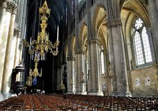 Interior of a cathedral in Reims. Stock Photo