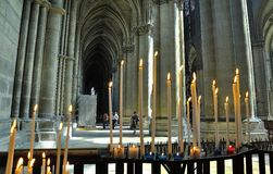 Interior of a cathedral in Reims. Royalty Free Stock Photography