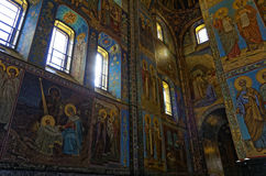 Interior of the Cathedral of the Resurrection of Christ in Saint Petersburg, Russia. Church of the Savior on Blood Royalty Free Stock Image