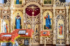 Interior of cathedral`s hall in honor of con of Mother of God `Softening of Evil Hearts`. Belgorod, Russia - May 20, 2017: Interior of cathedral`s hall in honor Royalty Free Stock Photos