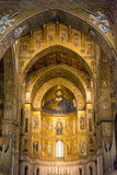 Interior of the cathedral Santa Maria Nuova of Monreale in Sicily, Italy. Monreale, Palermo Italy - April 13 2015 Interior of the cathedral Santa Maria Nuova of Royalty Free Stock Photo