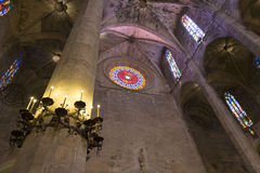 Interior of Cathedral of Santa Maria of Palma (La Seu) Royalty Free Stock Image