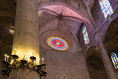Interior of Cathedral of Santa Maria of Palma (La Seu) Royalty Free Stock Images