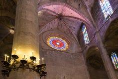 Interior of Cathedral of Santa Maria of Palma (La Seu). In Palma de Mallorca (Majorca Royalty Free Stock Images