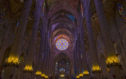 Interior of Cathedral of Santa Maria of Palma (La Seu) in Palma Royalty Free Stock Images