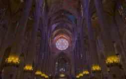 Interior of Cathedral of Santa Maria of Palma (La Seu) in Palma. De Mallorca, Spain ( Balearic Islands Royalty Free Stock Images