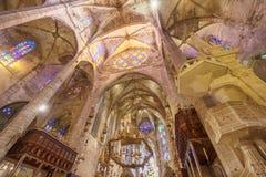 Interior of Cathedral of Santa Maria of Palma. View of Interior of Cathedral of Santa Maria of Palma (La Seu) in Palma de Mallorca, Spain Royalty Free Stock Images