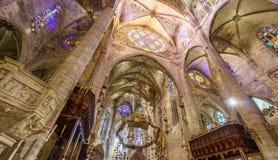 Interior of Cathedral of Santa Maria of Palma. View of Interior of Cathedral of Santa Maria of Palma (La Seu) in Palma de Mallorca, Spain Stock Image
