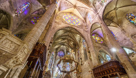 Interior of Cathedral of Santa Maria of Palma Stock Image