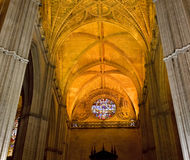 Interior of Cathedral in Seville Royalty Free Stock Photo