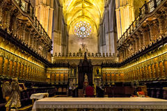 Interior of Cathedral in Seville Royalty Free Stock Photography