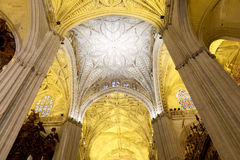 Interior Cathedral of Seville -- Cathedral of Saint Mary of the See, Andalusia, Spain Royalty Free Stock Photography