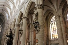 Interior of Cathedral of St. Michael and St. Gudula, Brussels, Belgium stock images