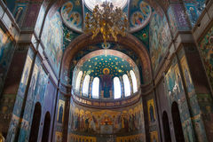 Interior of Cathedral of St. Panteleimon the Great Martyr in the New Athos Monastery. The cathedral, built in 1888-1900. Is the largest cult structure of Stock Photo