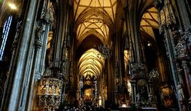 The interior of the Cathedral of St. Stephen in Vienna. stock photos