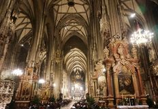 Interior of the Cathedral of St. Stephen in Vienna royalty free stock images