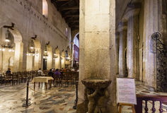 Interior of Cathedral of Syracuse in Sicily Stock Image