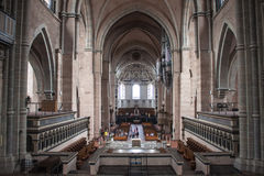 Interior of cathedral in Trier. TRIER, GERMANY - AUGUST 3: Interior of Saint Peter Cathedral on August 3, 2013 in Trier, Germany. Trier Cathedral, founded in 4 Stock Photography