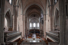 Interior of cathedral in Trier. TRIER, GERMANY - AUGUST 3: Interior of Saint Peter Cathedral on August 3, 2013 in Trier, Germany. Trier Cathedral, founded in 4 Royalty Free Stock Images