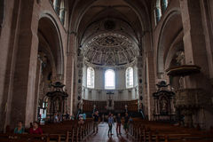 Interior of cathedral in Trier. TRIER, GERMANY - AUGUST 3: Interior of Saint Peter Cathedral on August 3, 2013 in Trier, Germany. Trier Cathedral, founded in 4 Stock Image