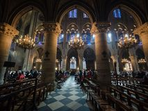 Interior of Cathedrale Notre Dame, medieval Catholic cathedral. Paris, France - January 7, 2018: Interior of Cathedrale Notre Dame, medieval Catholic cathedral Royalty Free Stock Photography