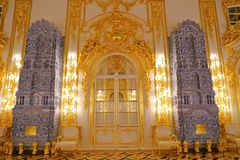 Interior of Catherine Palace a Rococo palace in Tsarskoye Selo Saint Petersburg. Russia Royalty Free Stock Images