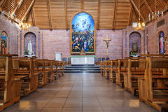 Interior in catholic cathedral Stock Photos