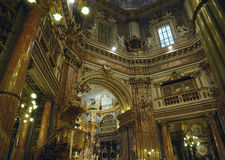 Interior of catholic church. Catholic church in Italy in evening lightning Royalty Free Stock Photo