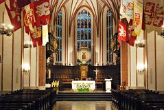 Beautiful richly decorated interior of the church Stock Photography