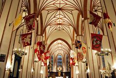 Beautiful richly decorated interior of the church Stock Image