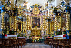Interior of catholic church. KRAKOW, POLAND - SEPTEMBER 16 2015: Interior of Church of Saint Bernardino, situated at the very foot of Wawel Hill, Krakow Old Town Royalty Free Stock Images