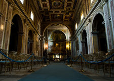 Interior of catholic church in Rome, Italy. Details of interior in the catolic cathedral in Rome Stock Images
