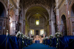 Interior of catolic churh in Rome, Italy Stock Photo