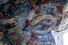 Interior of the cave church with early ortodox christian fresco Forty Sons in Law Church Kirkdamalti Kilise Guzelyurt, Ihlara Vall. Ey, Cappadocia, Central Royalty Free Stock Image