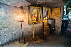 Interior of the Cave monastery. Interior of the monastery cut into the rock in Old Orhei in Moldova Stock Photography