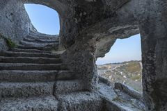 The interior of the caves of the ancient city of Eski-Kermen in Crimea stock images