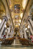 Interior and ceiling of the Baroque church of Santa Maria delle Vigne. Genoa, Italy Royalty Free Stock Photography