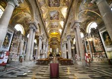 Interior and ceiling of the Baroque church of Santa Maria delle Vigne. Genoa, Italy Stock Images