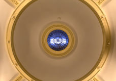 Interior ceiling with blue glass skylight Royalty Free Stock Photos