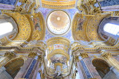 Interior ceiling of a catholic italian basilica Royalty Free Stock Photos