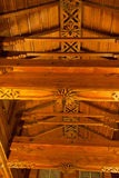 Interior ceiling detail with wooden beams Royalty Free Stock Photo