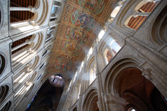 Interior ceiling of Ely Cathedral. Wide angle shot of the painted ceiling of Ely Cathedral, Cambridgeshire, England Royalty Free Stock Images