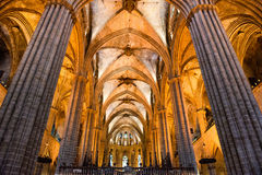 Interior Ceiling of Historic Barcelona Cathedral Stock Images
