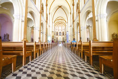 Interior and ceiling of historical building Saigon Notre-Dame. Basilica in Ho Chi Minh City, Vietnam Stock Photos